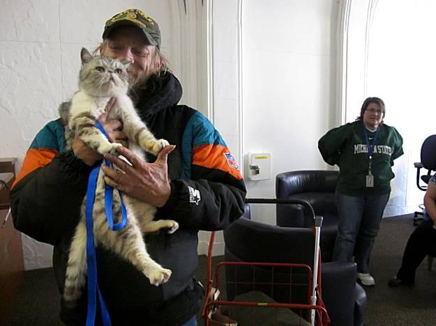 Курносая кошка Саманта и ее бездомный хозяин, Даниэль Харлан